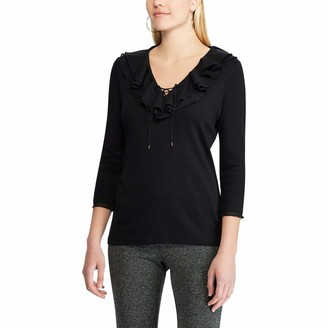 Chaps Women's Petite Ruffled Lace-Up 3/4 Sleeve Top