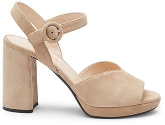 Prada Platform Peep-Toe Suede Sandals