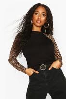 boohoo Leopard Print Raglan Long Sleeve T-Shirt