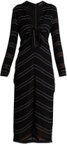 Proenza Schouler Knot-detail pinstriped stretch-crepe dress