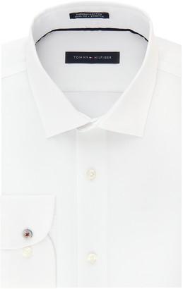 Tommy Hilfiger Men's Dress Shirt Slim Fit Stretch Solid