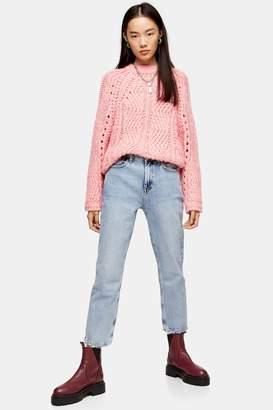 Topshop Womens Bleach Wash Abraided Hem Straight Jeans - Bleach Stone
