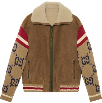 Gucci Knitted Sleeve Shearling Suede Jacket