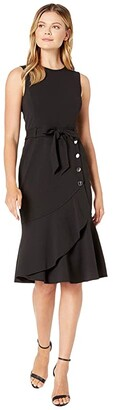 Calvin Klein Tie Front Dress with Flare and Buttons (Black) Women's Clothing