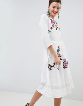 Asos DESIGN Premium Lace Embroiderd Midi Dress With Open Back