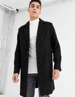 Asos Design DESIGN wool mix overcoat in black