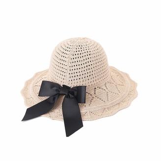 Ljpxbb Summer Sunscreen Bow-Knot Sun Hat Outdoors Straw Hat Cap Handmade Dome Top Cotton Black Foldable Hollow Beach Hat Boho-Ivory_59-60Cm