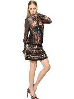 Roberto Cavalli Pleated Printed Techno Georgette Dress