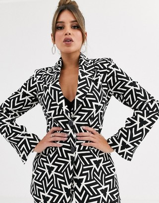 Asos Design DESIGN mono geo double breasted suit blazer