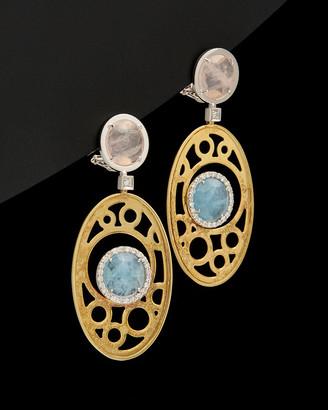 Italian Gold 14K 12.80 Ct. Tw. Diamond & Gemstone Clip Earrings