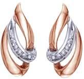Jewel Zone US Round Cut Natural Diamond Teardrop Swirl Drop Earrings in 10k Gold (1/10 cttw)