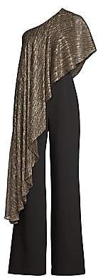 Trina Turk Women's Eastern Luxe Koi Metallic One-Shoulder Jumpsuit