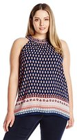 Blu Pepper Women's Plus-Size Woven Border Printed Halter Top