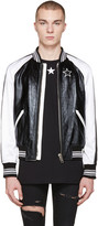 Givenchy Black Leather & Satin Bomber Jacket