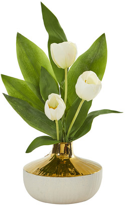 Nearly Natural Tulip Artificial Arrangement In Gold And Cream Elegant Vase