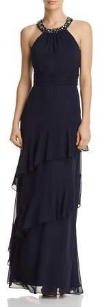 Eliza J Embellished Collar Gown