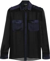 Tom Ford Satin-trimmed silk-chiffon shirt