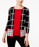 Alfred Dunner Talk Of The Town Mixed-Print Layered-Look Cardigan