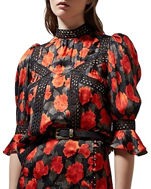 The Kooples Abstract Roses Jacquard Top
