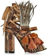 N°21 Mustard Yellow Elaphe Heel Sandal w/Pom Pom Tassel & Fringe
