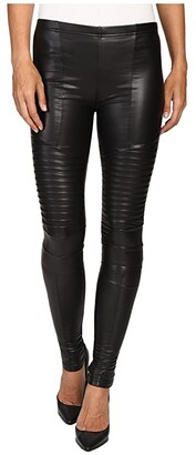 Plush Fleece-Lined Full Liquid Moto Leggings (Black) Women's Casual Pants