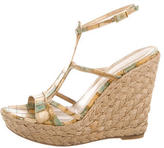 Stuart Weitzman Embossed Wedge Sandals