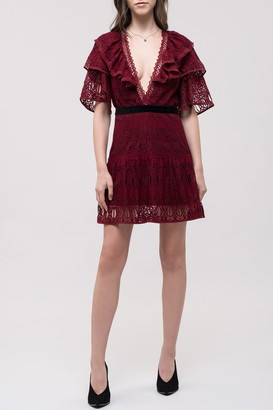 J.o.a. Ruffled Lace Dress