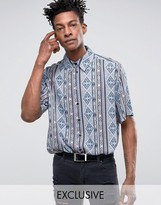 Reclaimed Vintage Inspired Shirt In Blue With Aztec Print In Reg Fit