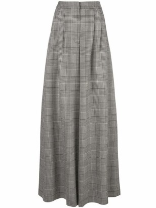 Adam Lippes Pleated Wide Leg Plaid Pants