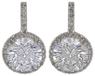 FANTASIA Pave Solitaire Drop Earrings