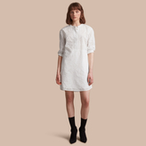 Burberry Collarless Broderie Anglaise Shirt Dress