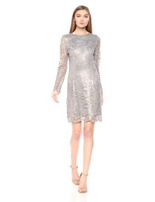 Dress the Population Women's Ash Long Sleeve Lace Short Mini Dress