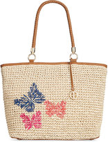 Giani Bernini Butterfly Straw Tote, Only at Macy's
