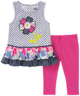 Kids Headquarters Pink & Blue Floral Ruffle Tank & Leggings - Infant & Toddler