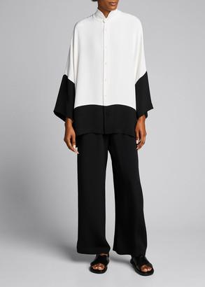 eskandar Stand Collar Colorblock Button-Down Blouse