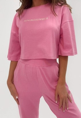 Missguided Pink Co Ord Spring Summer Rib Cropped T Shirt