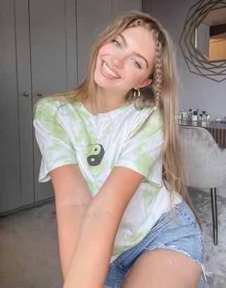 Topshop t-shirt with yin yang print green tie dye