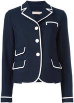 Tory Burch contrast trim blazer - women - Polyester/Viscose/Spandex/Elastane - 4