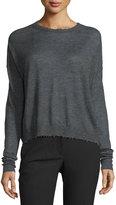 Helmut Lang Distressed Slub-Knit Cashmere Sweater, Charcoal