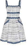ZUHAIR MURAD Asturias Broderie Anglaise-Trimmed Tweed Dress
