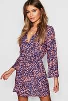 boohoo Leopard Print Knot Front Wrap Dress