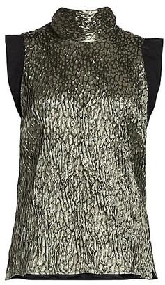 Rachel Comey Mirar Jacquard Metallic Tie-Neck Top