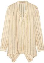 Etro Asymmetric Striped Silk-blend Chiffon Shirt - Ivory