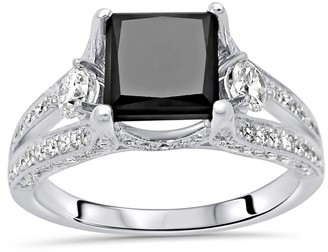 Overstock 18k White Gold 3.50ct Princess Cut Black Diamond 3 Stone Engagement Ring