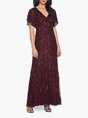 Adrianna Papell Flutter Sleeve Beaded Gown, Dark Burgundy