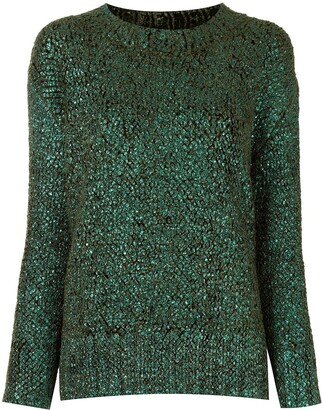 Ermanno Scervino Crew Neck Shiny Knit Sweater