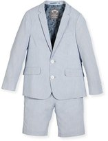 Appaman Striped Seersucker Short Suit, Light Blue, Size 2-14