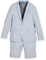 Appaman Striped Seersucker Short Suit, Light Blue, Size 2-14