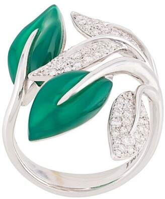 Mimi 18kt white gold Foglia leaf ring