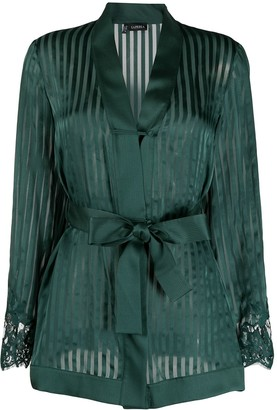 La Perla Lace-Panelled Silk Pyjamas